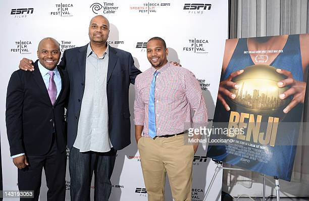 Director Coodie Simmons Mario Colman and Director Ted Schilinger attend the Tribeca/ESPN Sports Film Festival AfterParty For BENJI Hosted By Time...