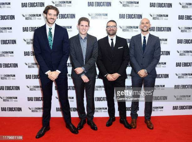 Director Cory Finley and producers Mike Makowsky Eddie Vaisman and Fred Berger attend the Bad Education UK Premiere during the 63rd BFI London Film...