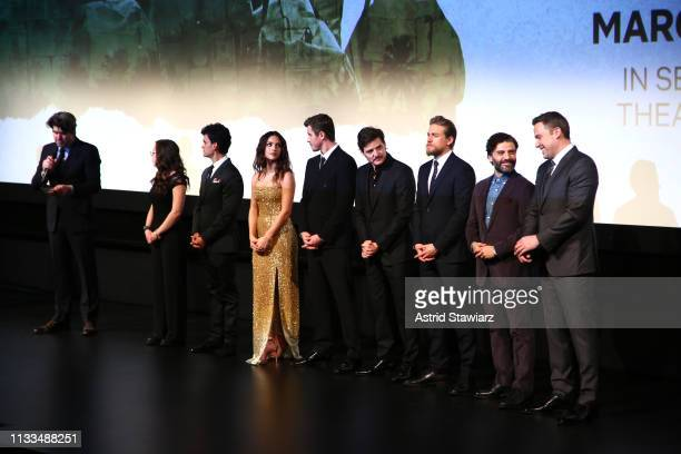 Director Cowriter J C Chandor and Cast members Maddy Wary Juan Castillo Adria Arjona Garrett Hedlund Pedro Pascal Charlie Hunnam Oscar Isaac and Ben...