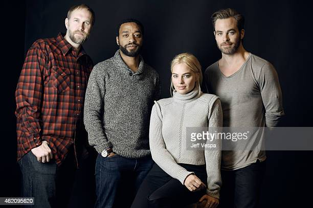 Director Craig Zobel actors Chiwetel Ejiofor Margot Robbie and Chris Pine from 'Z for Zachariah' pose for a portrait at the Village at the Lift...