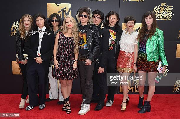 Director Crystal Moselle and 'The Wolfpack' Angulo brothers attend the 2016 MTV Movie Awards at Warner Bros Studios on April 9 2016 in Burbank...