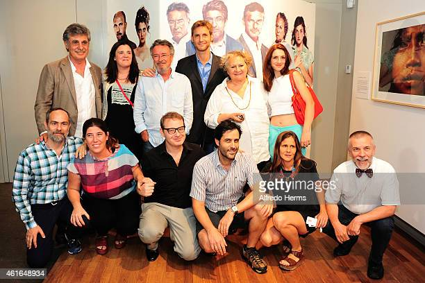 Director Damian Szifron poses with actors Oscar Martinez Rita Cortese Julieta Zylberberg and producers before a press conference after the...