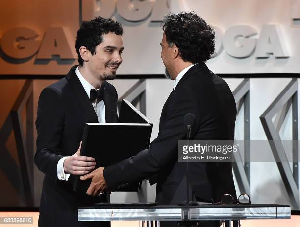 Director Damien Chazelle accepts the Award for Outstanding Directorial Achievement in Feature Film for 2016 for La La Land from Alejandro Gonzalez...