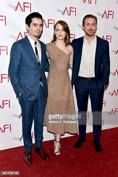 Director Damien Chazelle actors Emma Stone and Ryan Gosling attend the 17th annual AFI Awards at Four Seasons Los Angeles at Beverly Hills on January...