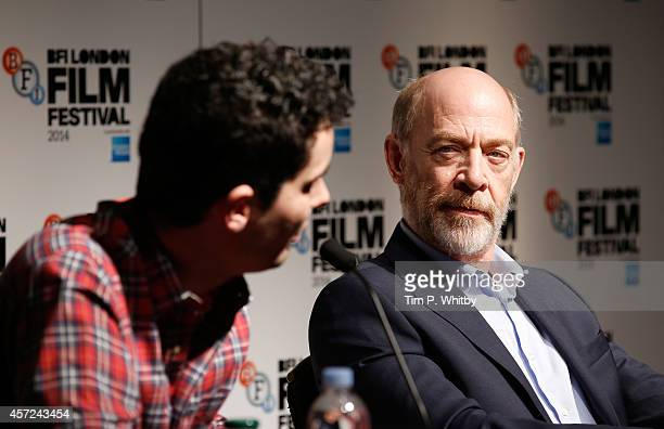 Director Damien Chazelle and actor JK Simmons attends the press conference for Whiplash during the 58th BFI London Film Festival at The Mayfair Hotel...