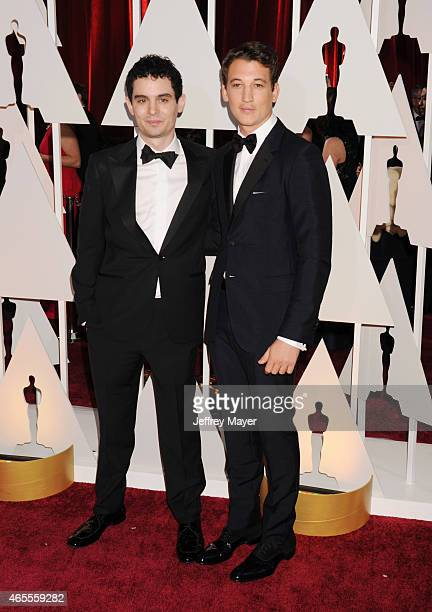 Director Damien Chazelle and actor Miles Teller arrive at the 87th Annual Academy Awards at Hollywood Highland Center on February 22 2015 in...