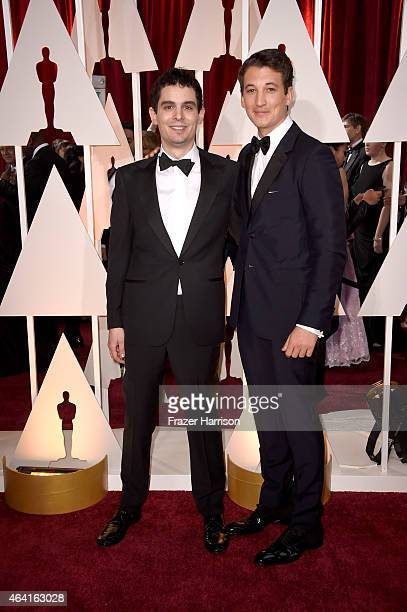 Director Damien Chazelle and actor Miles Teller attend the 87th Annual Academy Awards at Hollywood Highland Center on February 22 2015 in Hollywood...