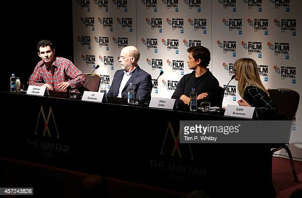 Director Damien Chazelle and actors JK Simmons Miles Teller and host Edith Bowman attend the press conference for Whiplash during the 58th BFI London...