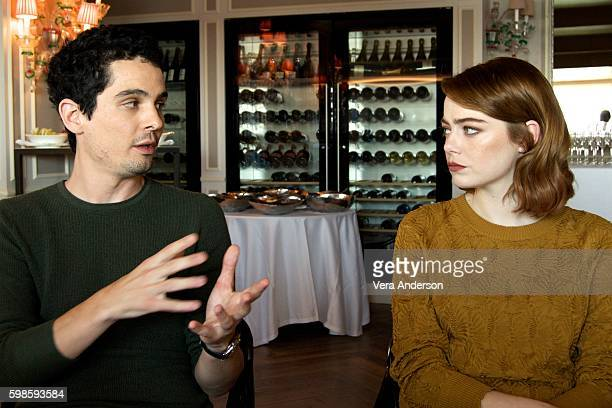 Director Damien Chazelle and Emma Stone at the La La Land Press Conference at the Danieli Hotel on September 1 2016 in Venice Italy