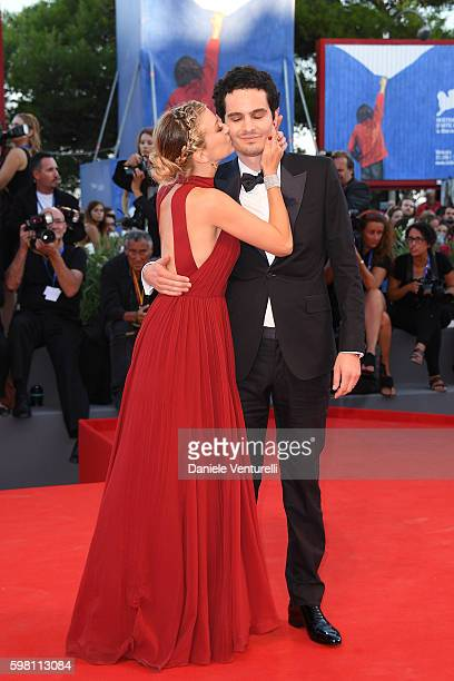 Director Damien Chazelle and Olivia Hamilton attend the opening ceremony and premiere of 'La La Land' during the 73rd Venice Film Festival at Sala...