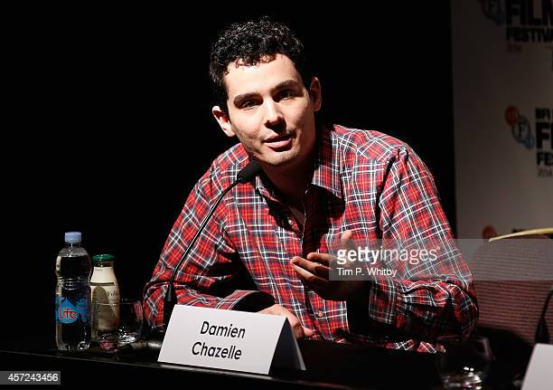 Director Damien Chazelle attends the press conference for Whiplash during the 58th BFI London Film Festival at The Mayfair Hotel on October 15 2014...