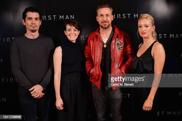 Director Damien Chazelle Claire Foy Ryan Gosling and Olivia Hamilton attend First Man Special Screening QA on September 26 2018 in London United...