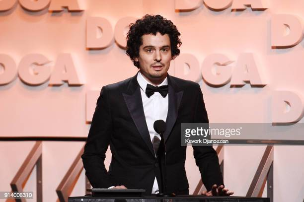 Director Damien Chazelle speaks onstage during the 70th Annual Directors Guild Of America Awards at The Beverly Hilton Hotel on February 3 2018 in...