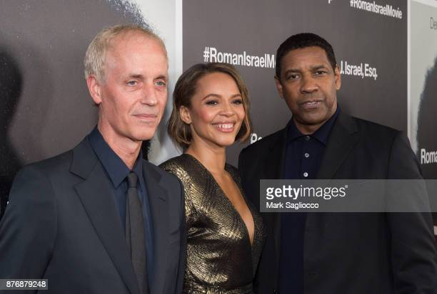 Director Dan Gilroy Actress Carmen Ejogo and Denzel Washington attend the Roman J Israel Esquire New York Premiere at Henry R Luce Auditorium at...