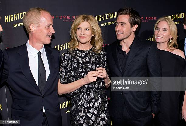 Director Dan Gilroy actress Rene Russo actor Jake Gyllenhaal and producer Jennifer Fox attend the 'Nightcrawler' New York Premiere at AMC Lincoln...