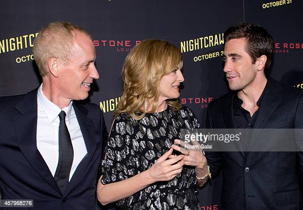 """Director Dan Gilroy, actress Rene Russo and actor Jake Gyllenhaal attend the """"Nightcrawler"""" New York Premiere at AMC Lincoln Square Theater on..."""