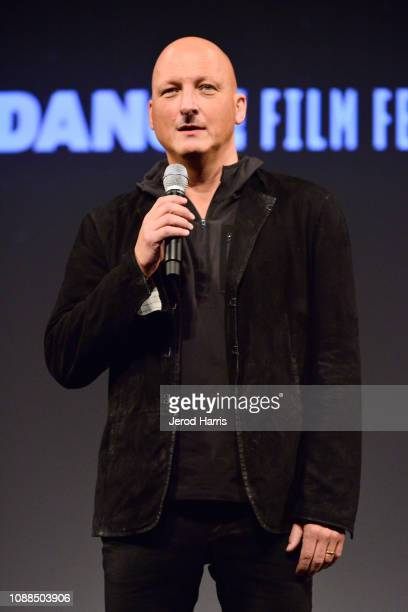 Director Dan Reed speaks onstage during the Leaving Neverland Premiere during the 2019 Sundance Film Festival at Egyptian Theatre on January 25 2019...