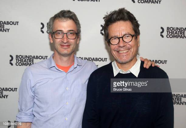 Director Daniel Aukin and Playwright Alexi Kaye Campbell pose at the photo call for The Roundabout Theatre Company's production of 'Apologia' at The...