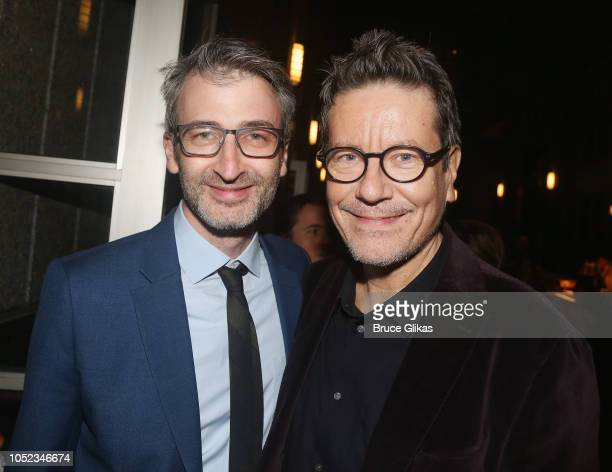 Director Daniel Aukin and Playwright Alexi Kaye Campbell pose at the opening night after party for the Roundabout Theater Company play 'Apologia' at...