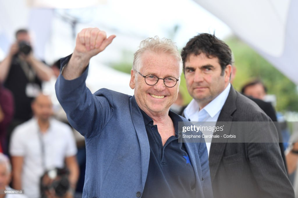 Director Daniel Cohn-Bendit and Romain Goupil (R) attends 'La Traversee' Photocall during the 71st annual Cannes Film Festival at Palais des Festivals on May 16, 2018 in Cannes, France.