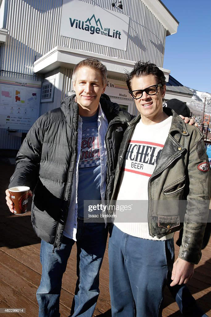 Director Daniel Junge (L) and Johnny Knoxville attend The Village At The Lift 2015 on January 26, 2015 in Park City, Utah.