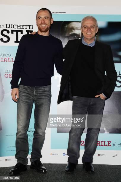 Director Daniele Luchetti and actor Elio Germano attend 'Io Sono Tempesta' photocall on April 9 2018 in Milan Italy