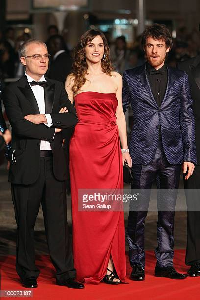 Director Daniele Luchetti Stefania Montorsi and Elio Germano attend the 'Our Life' Premiere at the Palais des Festivals during the 63rd Annual Cannes...