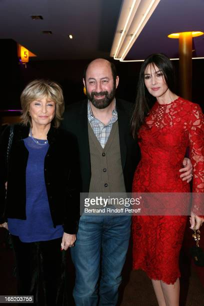 Director Daniele Thompson Actor Kad Merad and Actress Monica Bellucci attend 'Des gens qui s'embrassent' movie premiere at Cinema Gaumont Marignan on...
