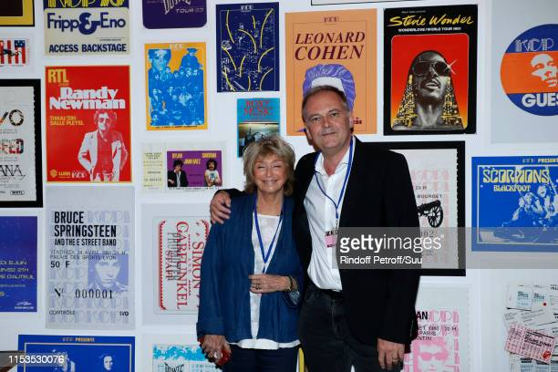 Director Daniele Thompson and director Christian Carion attend Albert Koski exposes its Rock&Roll Posters Collection at Galerie Laurent Godin on June...
