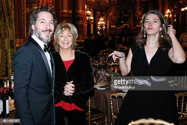 Director Daniele Thompson standing between Actor Guillaumre Gallienne and his wife Amandine attend Weizmann Institute celebrates its 40 Anniversary...