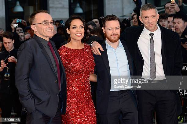 Director Danny Boyle actors Rosario Dawson James McAvoy and Vincent Cassel attend the UK Film Premiere of 'Trance' at Odeon West End on March 19 2013...