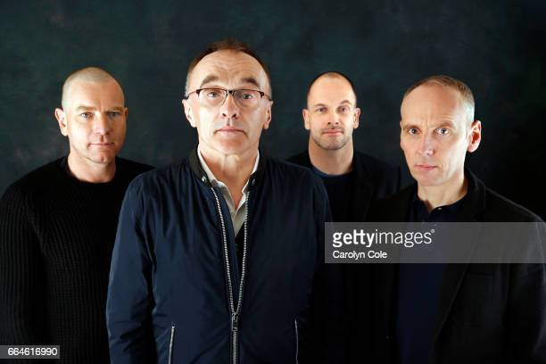 Director Danny Boyle front along with Ewan McGregor left Ewen Bremner right and Jonny Lee Miller back of Trainspotting as they reunite for a sequel...