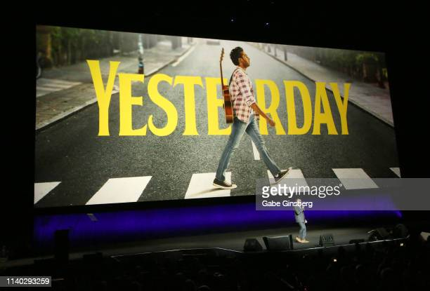 Director Danny Boyle talks about the upcoming movie Yesterday during Universal Pictures special presentation during CinemaCon at The Colosseum at...