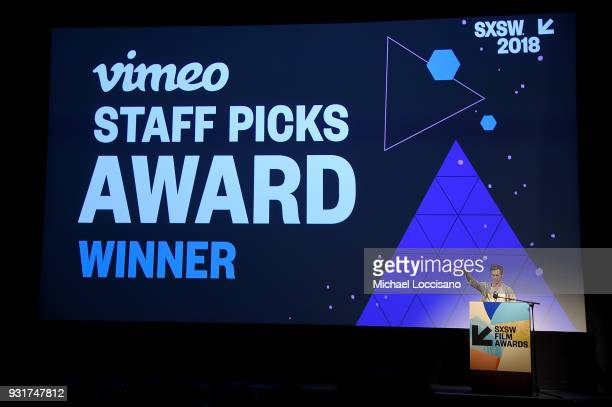 Director Danny Madden accepts the Vimeo Staff Picks award at the SXSW Film Awards show during the 2018 SXSW Conference and Festivals at Paramount...