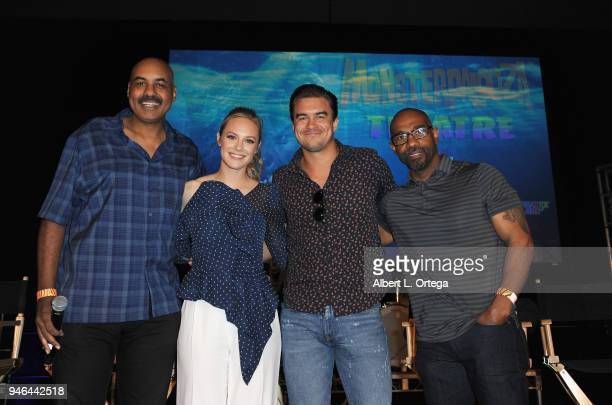 Director Darin Scott actress Danielle Savre actor Rob Mayes and actor Michael Beach of Warner Bros 'Deep Blue Sea 2' pose onstage on Day 1 of...