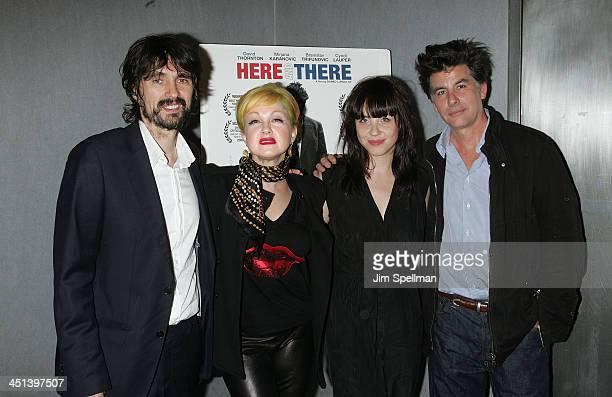 Director Darko Lungulov Actors Cyndi Lauper Jelena Mrdja and David Thornton attend the premiere of Here There at Quad Cinema on May 14 2010 in New...