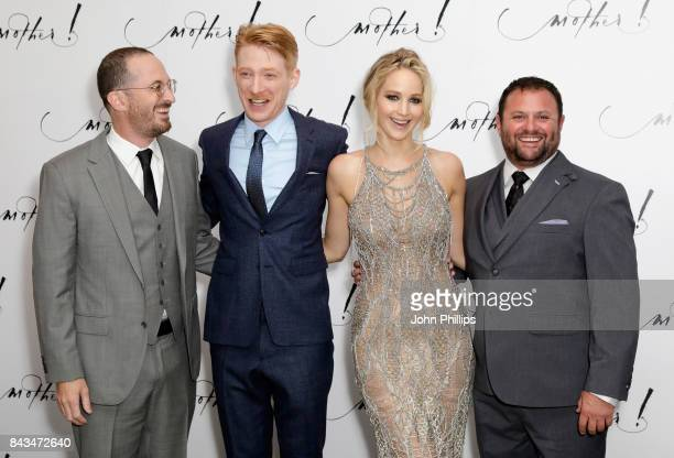 Director Darren Aronofsky actors Domhnall Gleeson and Jennifer Lawrence and producer Scott Franklin attend the UK Premiere of 'mother' at the Odeon...