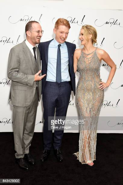 Director Darren Aronofsky actors Domhnall Gleeson and Jennifer Lawrence attend the 'Mother' UK premiere at Odeon Leicester Square on September 6 2017...