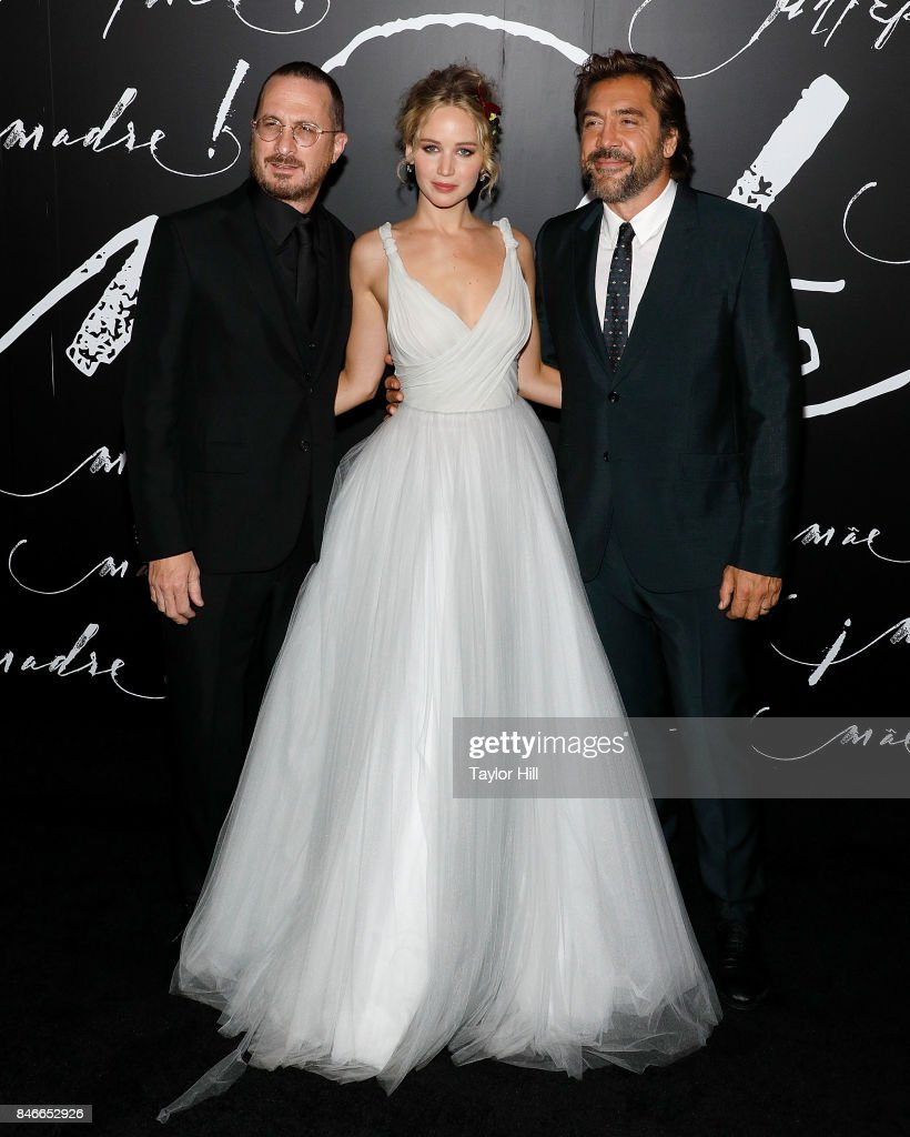 Director Darren Aronofsky, actress Jennifer Lawrence, and actor Javier Bardem attend the premiere of 'mother!' at Radio City Music Hall on September 13, 2017 in New York City.
