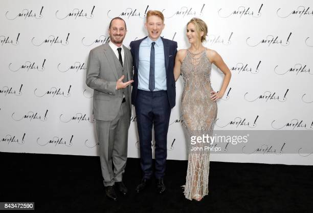 Director Darren Aronofsky and actors Domhnall Gleeson and Jennifer Lawrence attend the UK Premiere of 'mother' at the Odeon Leicester Square on...