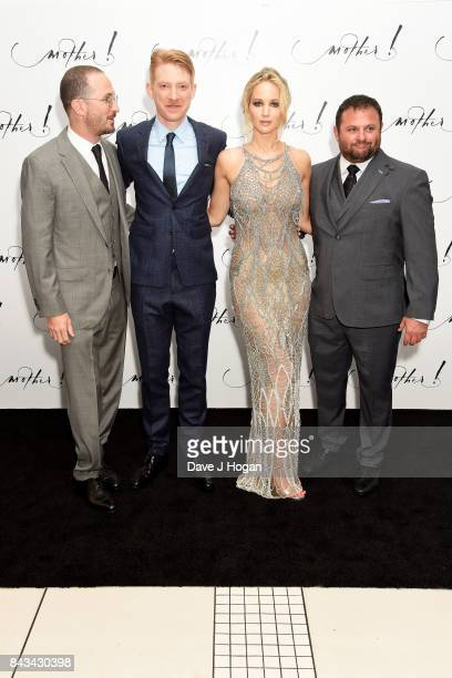 Director Darren Aronofsky Domhnall Gleeson Jennifer Lawrence and producer Scott Franklin attend the 'Mother' UK premiere at Odeon Leicester Square on...
