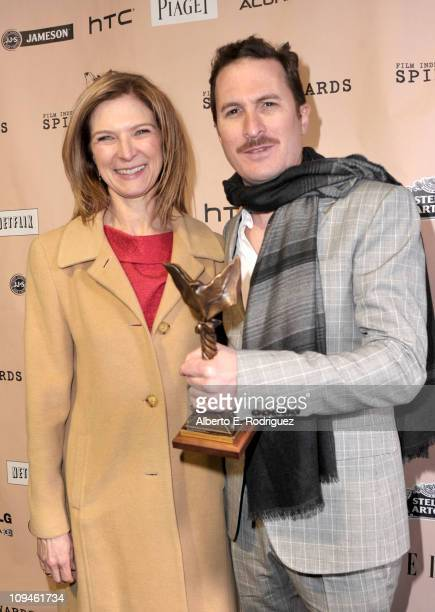 Director Darren Aronofsky winner of the Best Director award for 'Black Swan' and Film Independent Executive Director Dawn Hudson at the 2011 Film...