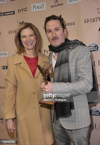 Director Darren Aronofsky winner of the Best Director award for 'Black Swan' and Film Independent Executive Director Dawn Hudson attend the 2011 Film...