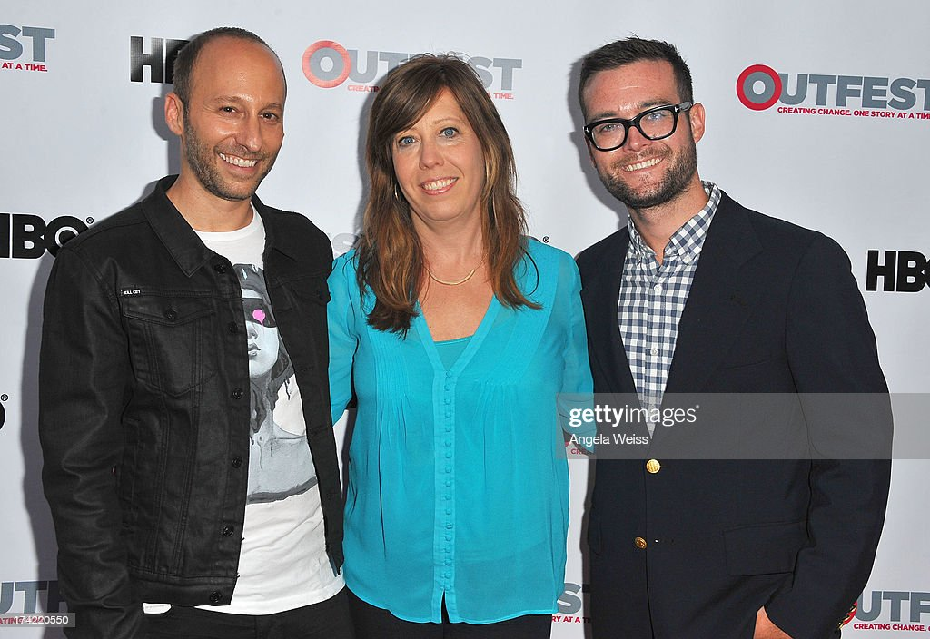 Director Darren Stein, Kirsten Schaffer, Outfest's Executive Director and writer George Northy arrive at the 2013 Outfest Film Festival closing night gala of 'G.B.F.' at the Ford Theatre on July 21, 2013 in Hollywood, California.