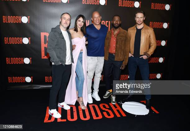 Director Dave Wilson and actors Eiza González Vin Diesel Lamorne Morris and Sam Heughan attend the photocall of Sony Pictures' Bloodshot at The...