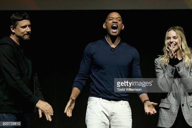 """Director David Ayer, actors Will Smith and Margot Robbie speak onstage during CinemaCon 2016 Warner Bros. Pictures Invites You to """"The Big Picture"""",..."""