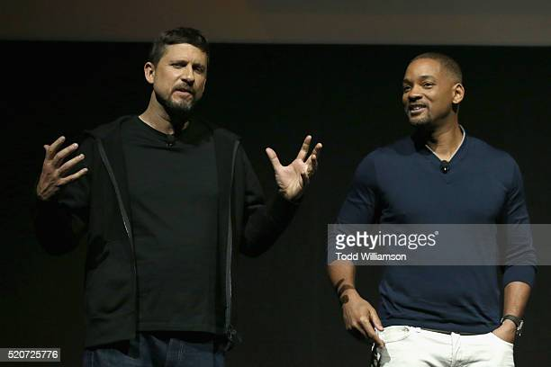 """Director David Ayer and actor Will Smith speak onstage during CinemaCon 2016 Warner Bros. Pictures Invites You to """"The Big Picture"""", an Exclusive..."""