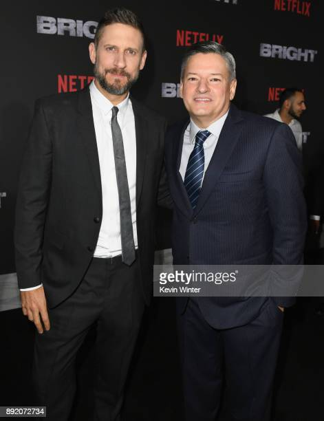 Director David Ayer and Chief Content Officer for Netflix Ted Sarandos attend the Premiere Of Netflix's 'Bright' at Regency Village Theatre on...