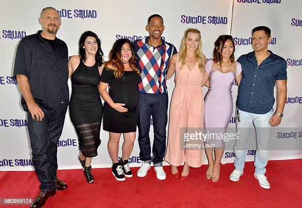 Director David Ayer artist Amanda Valdes artist Didirok Actor Will Smith actress Margot Robbie actress Karen Fukuhara and actor Jay Hernandez attend...