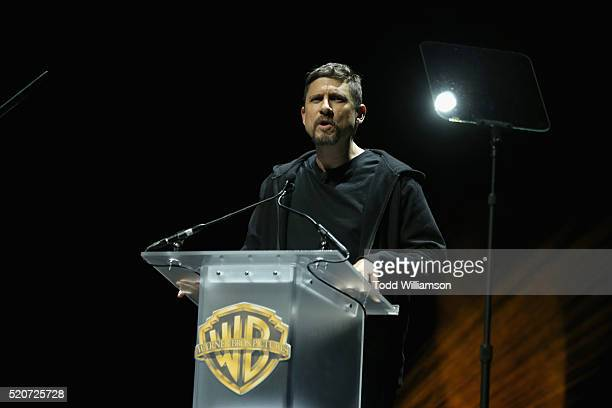 """Director David Ayer speaks onstage during CinemaCon 2016 Warner Bros. Pictures Invites You to """"The Big Picture"""", an Exclusive Presentation..."""